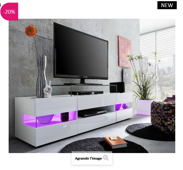 Banc TV design LED Maximilian ATYLIA  Meuble TV Atylia  Ventespaschercom -> Meuble Tv Design Led Pas Cher