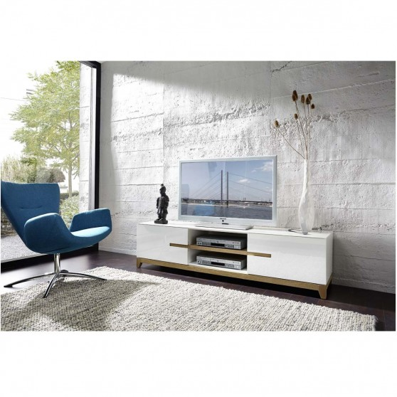 Banc tv design laqu lucia gris atylia banc tv design for Atylia meuble tv
