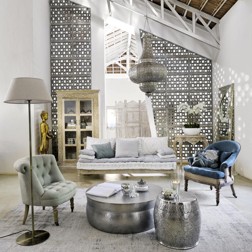 Banquette 2/3 places Matala en coton gris et blanc - Maisons du Monde