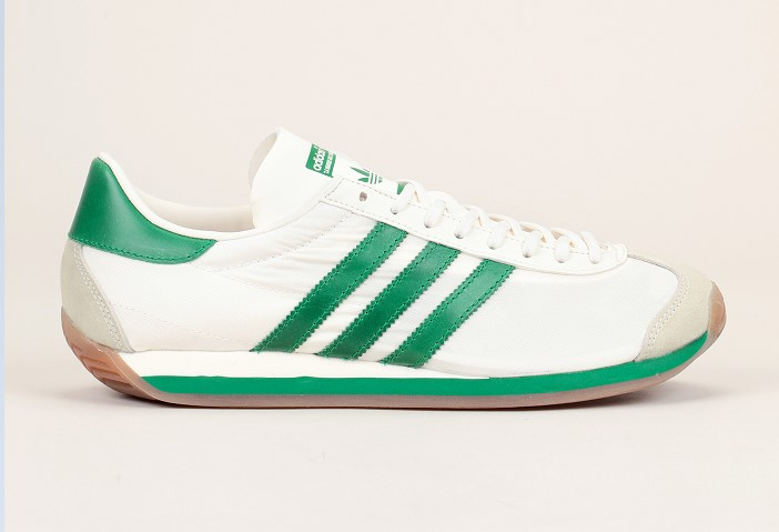 Baskets cuir/textile Country OG Adidas Originals écru/vert, Baskets Femme Monshowroom