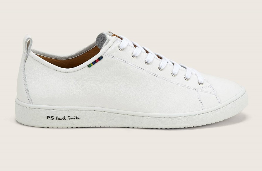 PS PAUL SMITH Miyata Baskets en cuir grainé blanc pour Homme