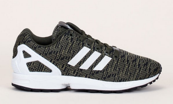 Adidas Originals Baskets ZX Flux kaki/noir en mesh et empiècement blanc moulé