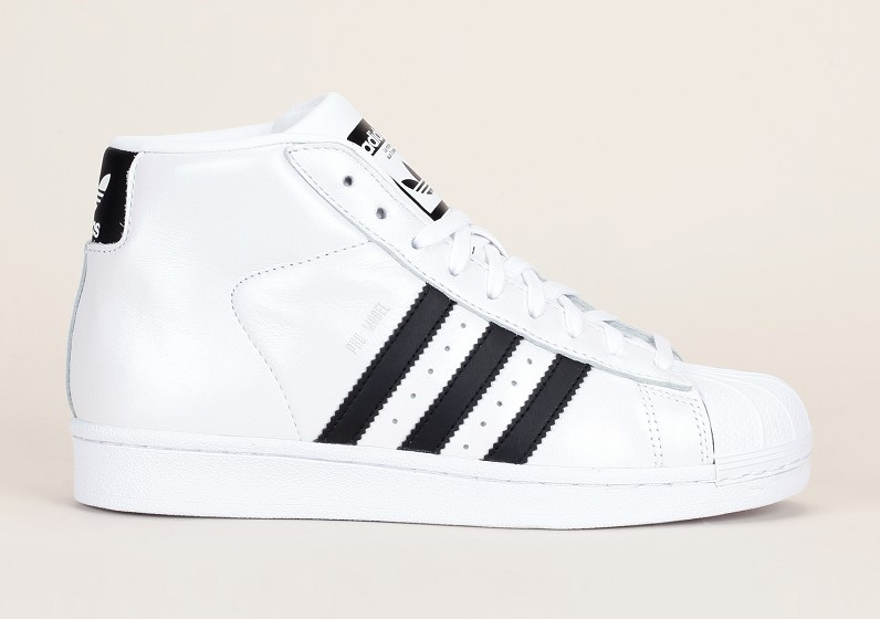 Baskets montantes Promodel Adidas Originals cuir blanc irisé rayures noires, Baskets Femme Monshowroom
