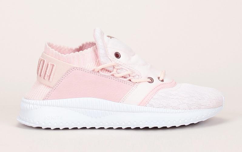 Puma Baskets multi-matières rose détails mesh dentelé rivets cuivrés - Monshowroom