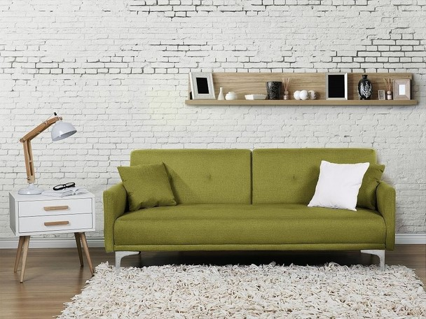 Beliani Lucan Canapé convertible canapé en tissu vert
