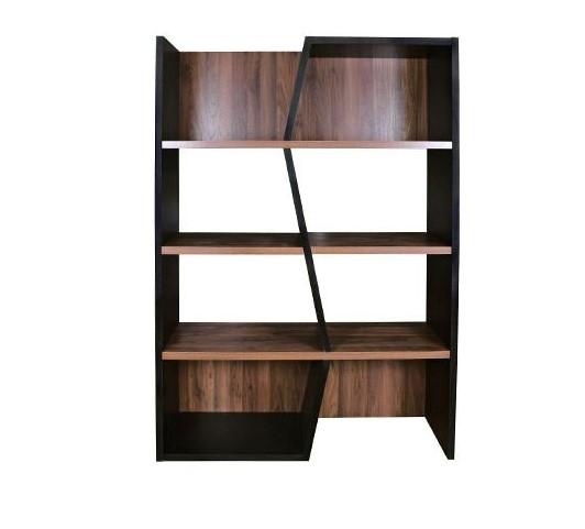 Bibliothèque design SAGAN bois foncé et noir - Miliboo