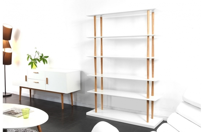biblioth que miliboo biblioth que design gilda bois naturel et blanc 5 tag res ventes pas. Black Bedroom Furniture Sets. Home Design Ideas