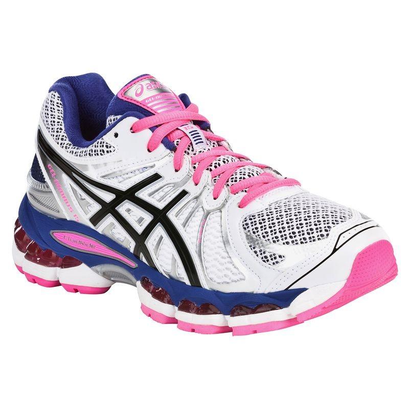 chaussures running femme gel nimbus blanc rose asics baskets decathlon ventes pas. Black Bedroom Furniture Sets. Home Design Ideas
