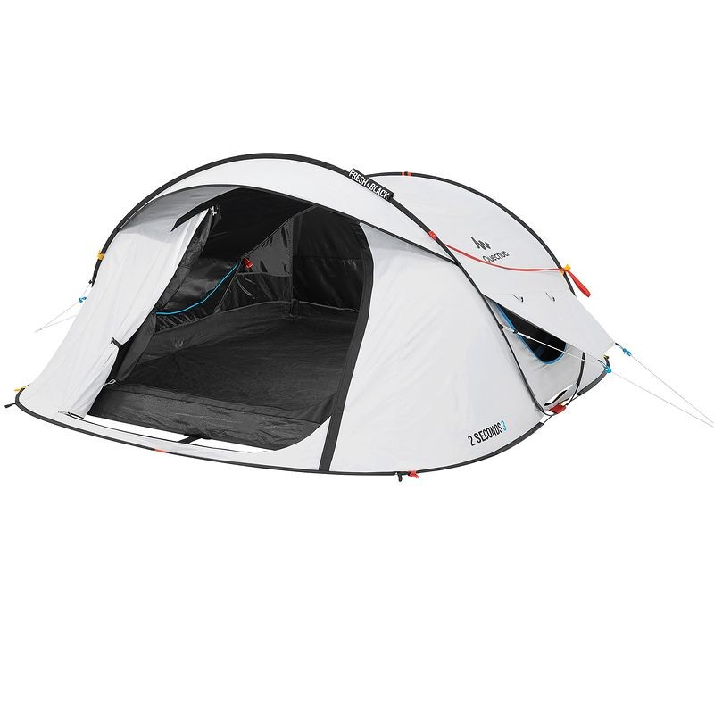 Tente de camping 2 seconds easy quechua 3 personnes for Toile de tente 4 chambres