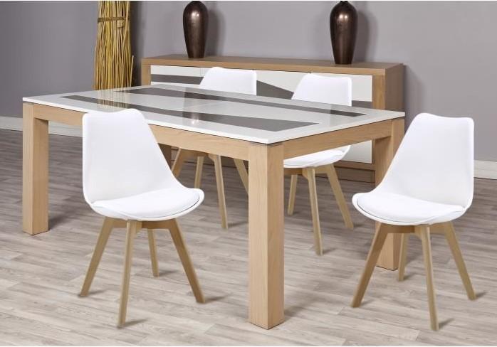BJORN Lot de 4 chaises de salle à manger Simili blanc Scandinave - Cdiscount