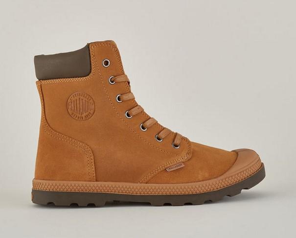 Palladium Knit LP Boots en cuir marron à lacets