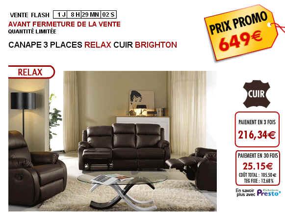 canap vente unique canape 3 places relax cuir brighton prix 649 euros ventes pas. Black Bedroom Furniture Sets. Home Design Ideas