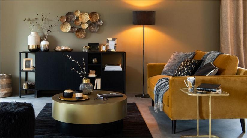 Buffet OPAL 2 portes 1 tiroir en métal noir - Maisons du Monde