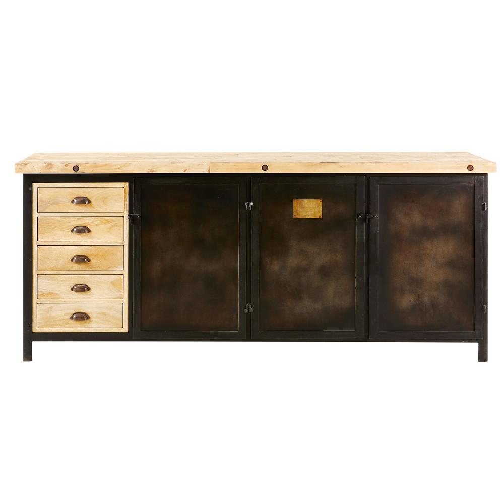 Buffet 3 portes 5 tiroirs Colombus en métal noir et manguier massif - Maisons du Monde
