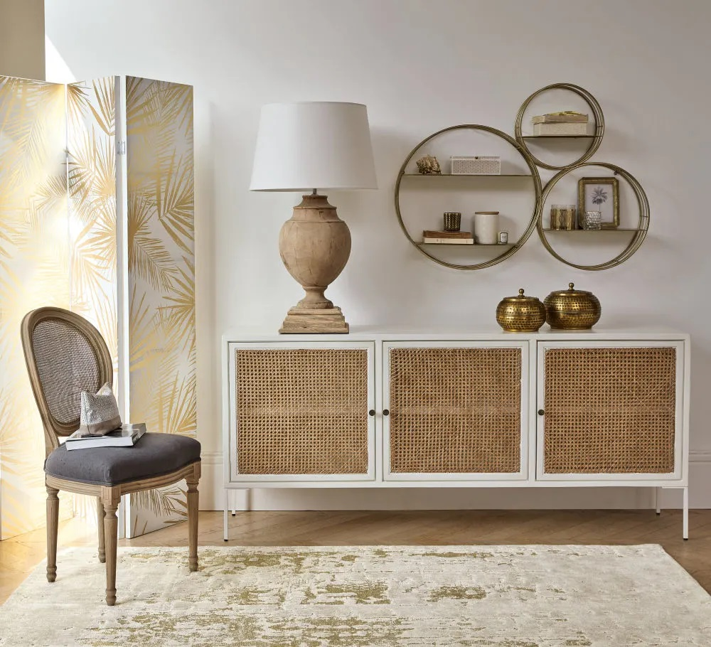 Buffet 3 portes Izmir en acacia blanc et bambou - Maisons du Monde