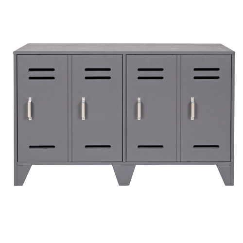 Buffet bas type casier en m tal gris buffet decoclico - Casier en metal pas cher ...