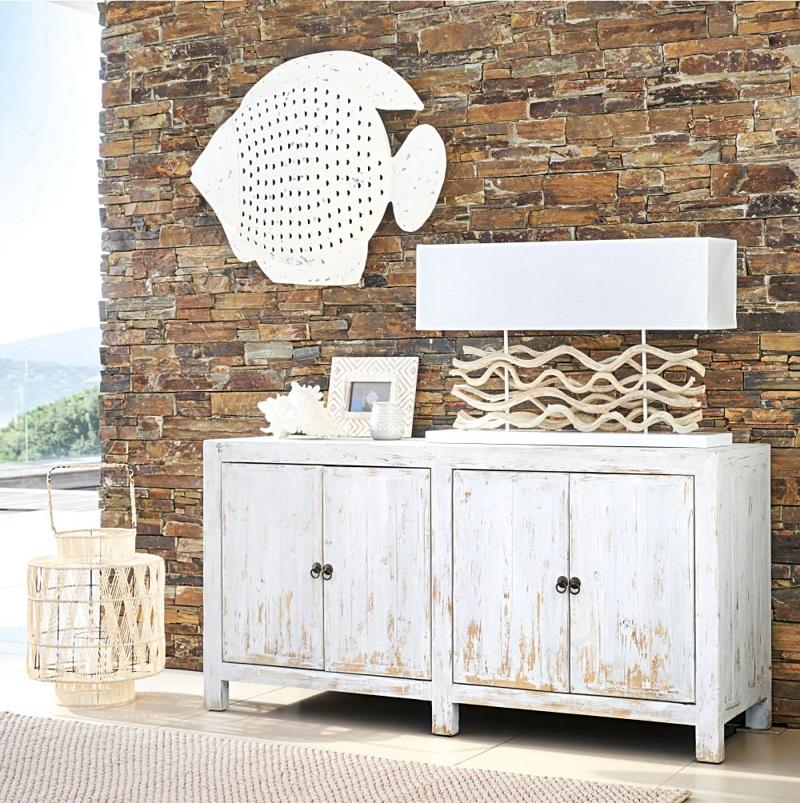 Buffet 4 portes Jasmin en pin recyclé blanc - Maisons du Monde