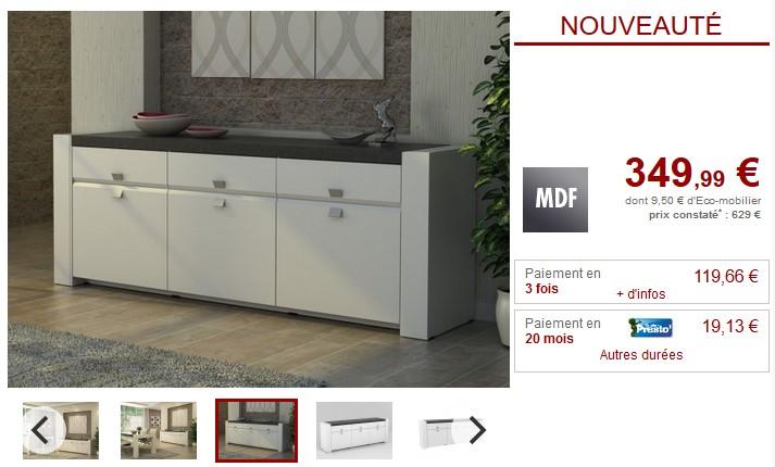 Buffet ASTEROIDE 3 portes, 3 tiroirs plateau effet ardoise - Vente Unique