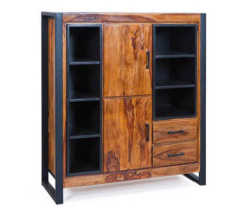 buffet design carved m tal et bois de sheesham buffet miliboo ventes pas. Black Bedroom Furniture Sets. Home Design Ideas