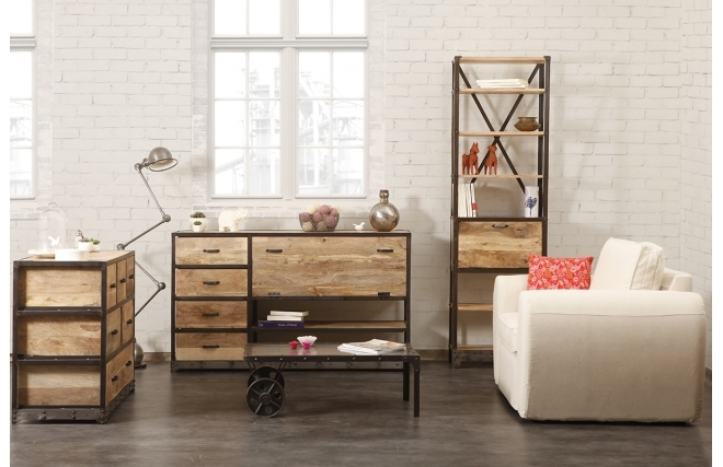 buffet miliboo buffet design industriel industria bois massif ventes pas. Black Bedroom Furniture Sets. Home Design Ideas