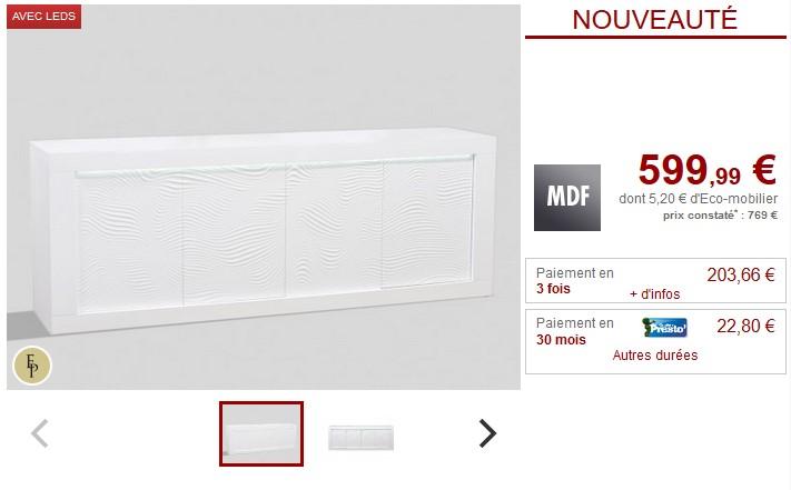 Buffet ECLIPSE MDF laqué blanc LEDs 4 portes - Vente Unique