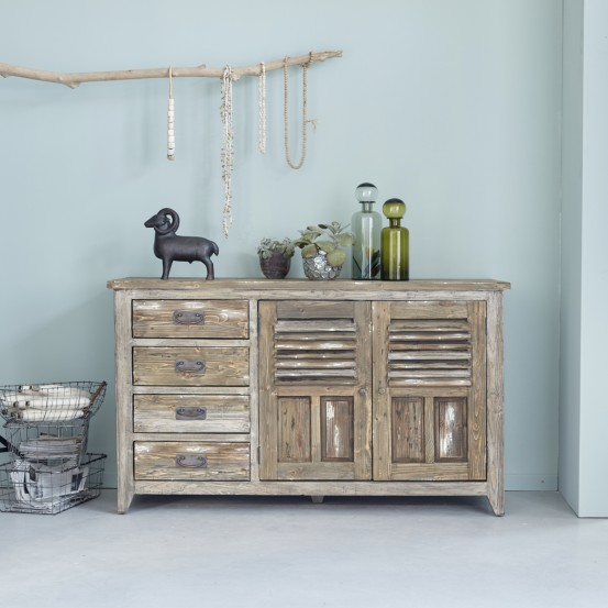 buffet en bois de pin recycl 140 vintage buffet bois dessus bois dessous ventes pas. Black Bedroom Furniture Sets. Home Design Ideas