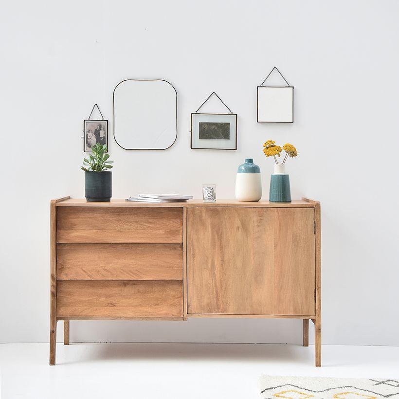 buffet en manguier 1 porte 3 tiroirs style vintage buffet decoclico ventes pas. Black Bedroom Furniture Sets. Home Design Ideas