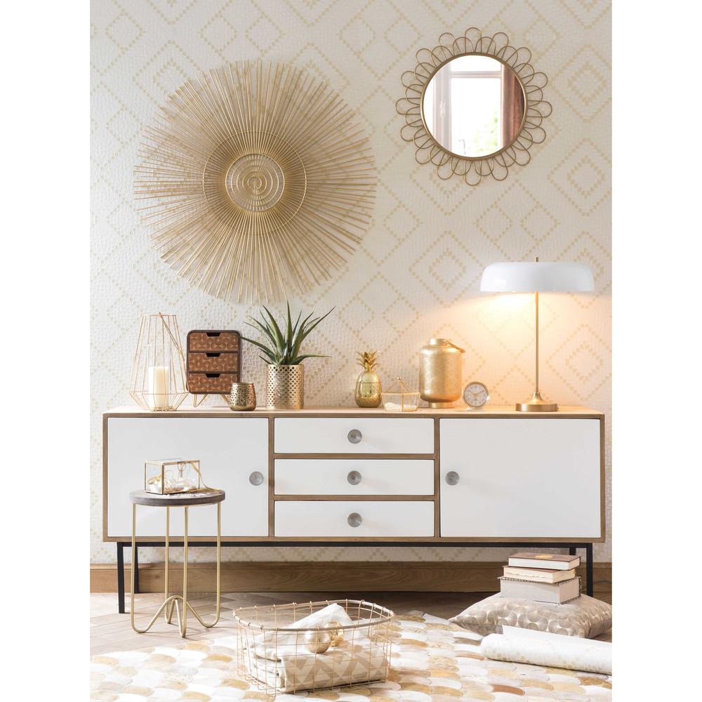 buffet enfilade en manguier blanc seven soldes buffet. Black Bedroom Furniture Sets. Home Design Ideas
