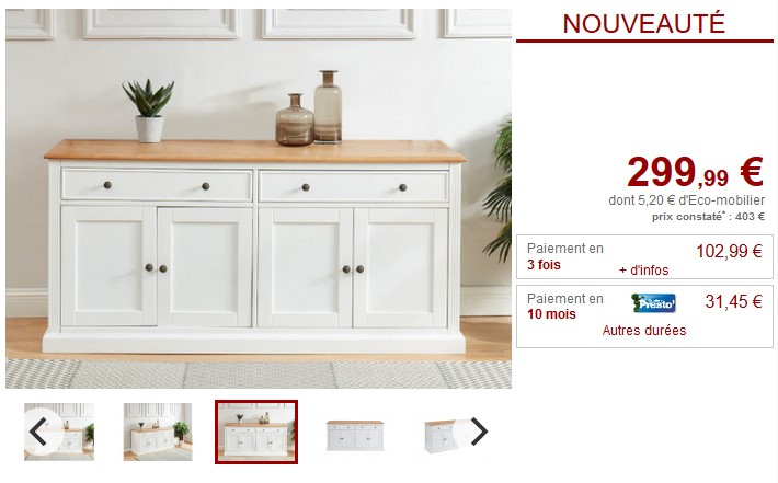 Buffet HONFLEUR 4 portes et 2 tiroirs Pin & MDF blanc - Vente Unique