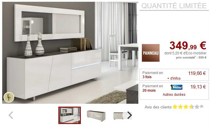 Buffet ISALINE II 3 portes et 1 tiroir Laqué blanc - Vente Unique
