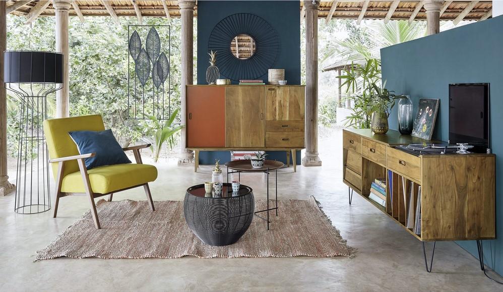 buffet meuble vinyles gimmick en acacia massif buffet maisons du monde ventes pas. Black Bedroom Furniture Sets. Home Design Ideas