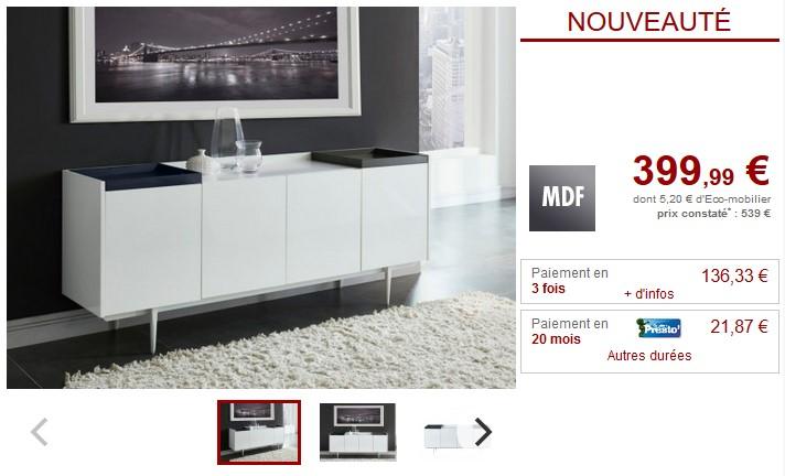 Buffet SOLENIO 4 portes et 2 plateaux MDF laqué blanc - Vente Unique
