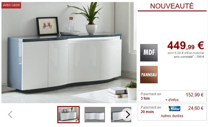 Buffet WINDY LEDs 4 portes MDF Blanc et anthracite - Vente Unique