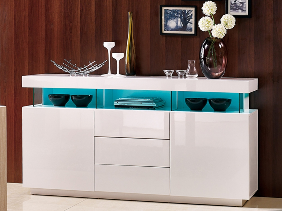Buffet fabio mdf laqu blanc leds buffet vente unique ventes pas - Buffet blanc laque led ...