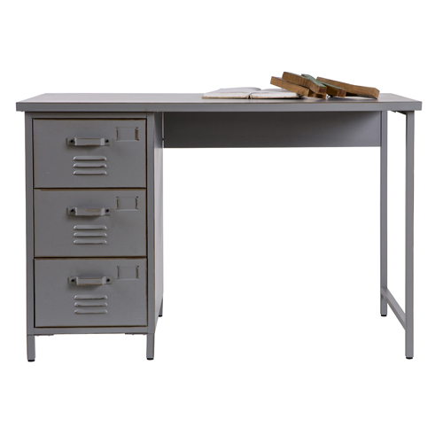 bureau en m tal gris 3 tiroirs vintage max bureau decoclico ventes pas ch. Black Bedroom Furniture Sets. Home Design Ideas