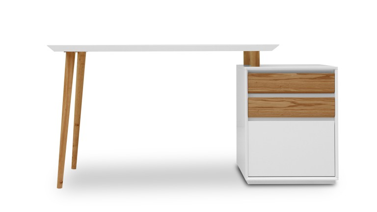 Bureau blanc mat svartan avec caisson 3 tiroirs bureau for Bureau tiroir pas cher