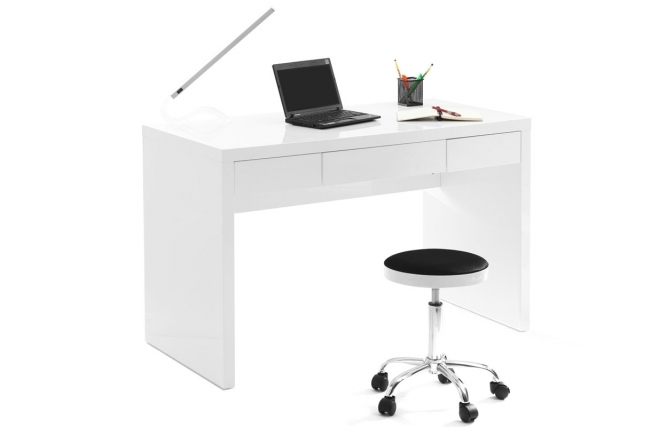 bureaux miliboo bureau design blanc laqu lacy ventes. Black Bedroom Furniture Sets. Home Design Ideas