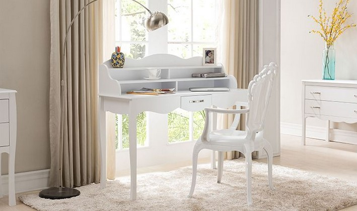 bureau design laqu blanc margot pas cher bureau miliboo. Black Bedroom Furniture Sets. Home Design Ideas