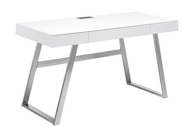Bureau design laqué blanc MANA pieds métal - Miliboo