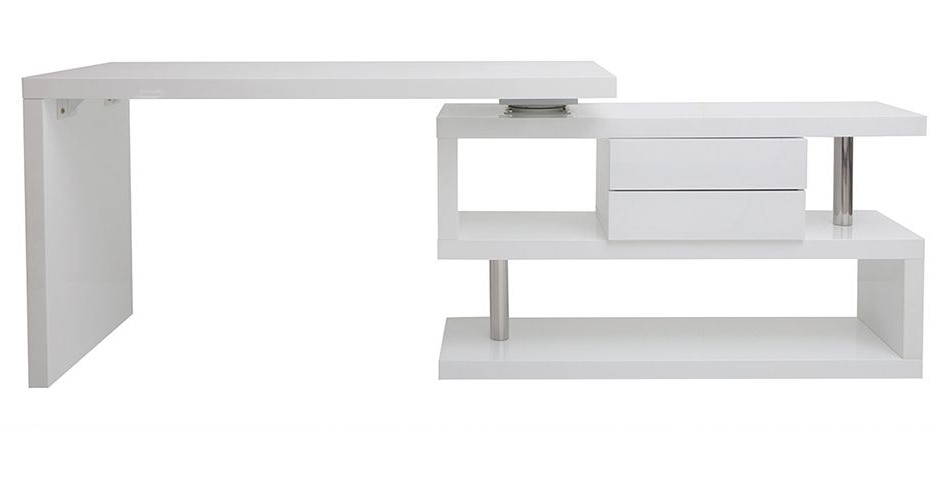 Bureau design modulable MAX blanc laqué avec rangement 2 tiroirs amovible - Miliboo