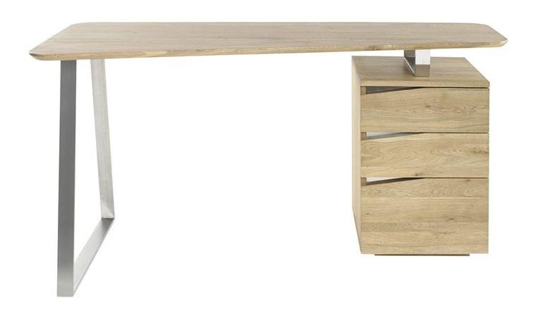 Bureau design JANIS avec rangements métal et bois - Miliboo