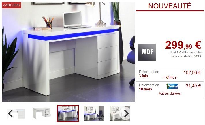 Bureau EMERSON LEDs 3 tiroirs MDF laqué blanc - Vente Unique
