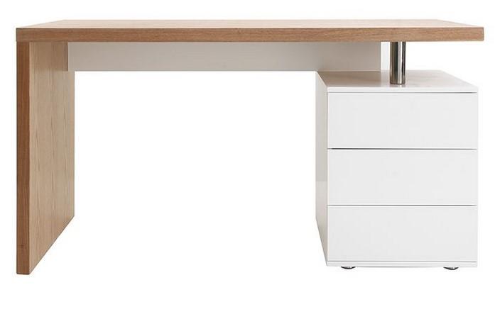 Bureau design CALIX en chêne clair et blanc - Miliboo