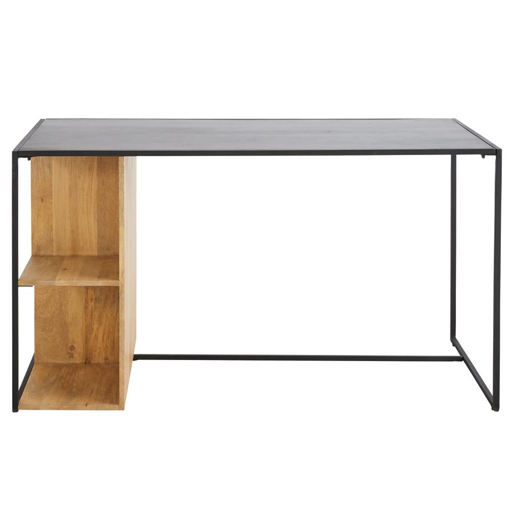 bureau wayampi en m tal noir et manguier massif bureau. Black Bedroom Furniture Sets. Home Design Ideas