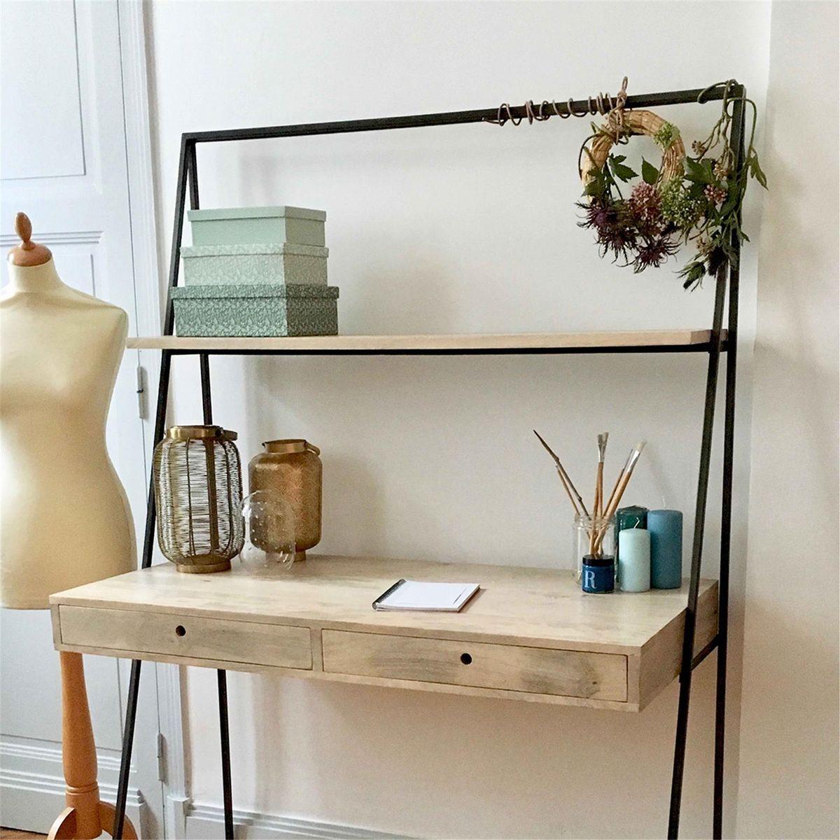 bureau mural dandy avec tag re en manguier pi tement. Black Bedroom Furniture Sets. Home Design Ideas