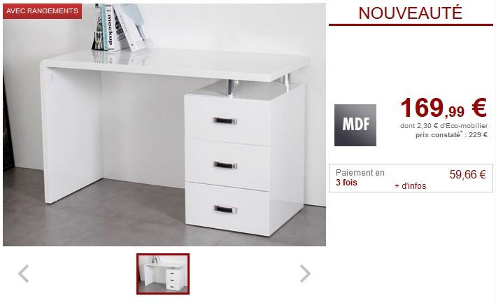 Bureau STANISLAS avec rangements 3 tiroirs MDF et métal - Vente Unique