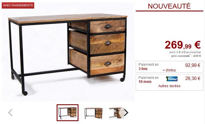 Bureau à roulettes VENANGO 3 tiroirs Bois et Métal noir - Vente Unique