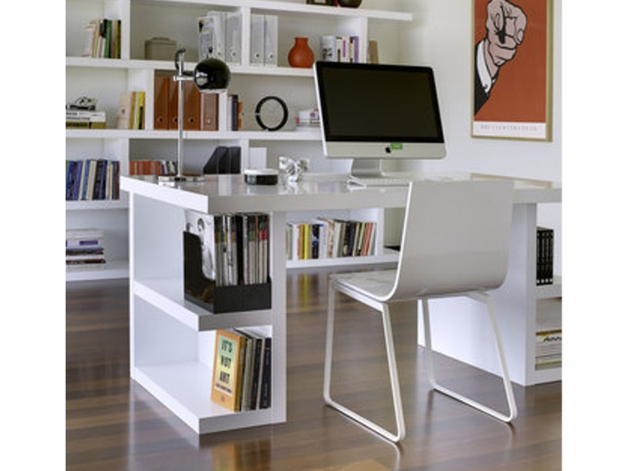 bureau avec tag res denzel laqu blanc bureau vente. Black Bedroom Furniture Sets. Home Design Ideas