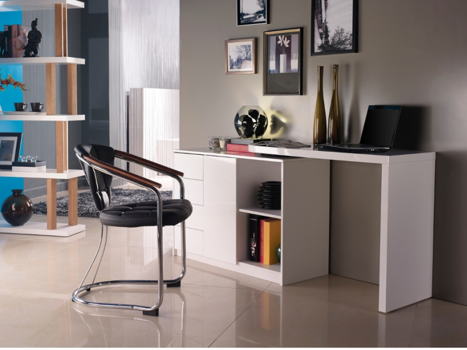 bureau vente unique bureau extensible pavel mdf laqu blanc ventes pas. Black Bedroom Furniture Sets. Home Design Ideas