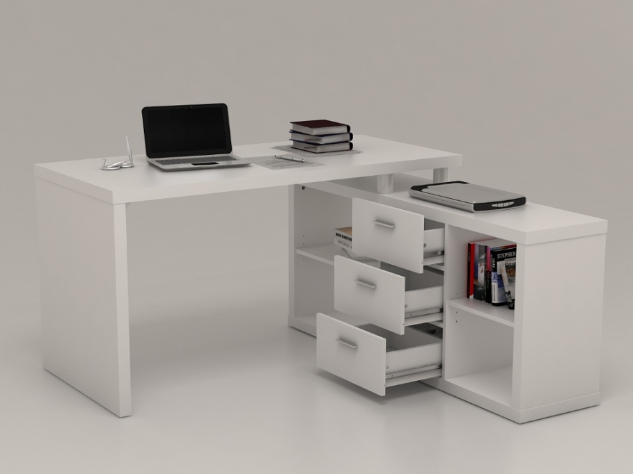 bureau d 39 angle avec rangements aldric blanc bureau vente. Black Bedroom Furniture Sets. Home Design Ideas